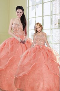 Watermelon Red Lace Up Sweetheart Beading and Sequins 15 Quinceanera Dress Organza Sleeveless