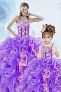 Beautiful Multi-color Lace Up Sweetheart Beading and Ruffles and Sequins Quince Ball Gowns Organza Sleeveless