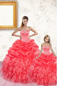 Comfortable Coral Red Organza Lace Up Sweetheart Sleeveless Floor Length Quinceanera Dress Beading and Ruffles and Pick Ups