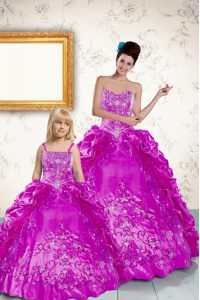 Free and Easy Purple Sleeveless Floor Length Beading and Embroidery and Pick Ups Lace Up Sweet 16 Dresses