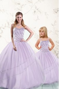 Lavender Tulle Lace Up Sweetheart Sleeveless Floor Length Ball Gown Prom Dress Beading