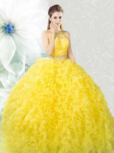 Yellow Scoop Zipper Beading and Ruffles Quinceanera Dress Sleeveless