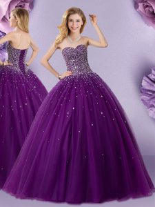 Discount Dark Purple Ball Gowns Beading Vestidos de Quinceanera Lace Up Tulle Sleeveless Floor Length