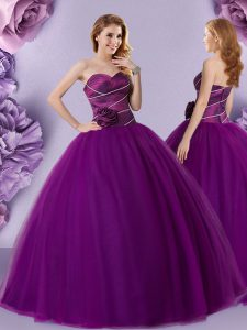 Sleeveless Zipper Floor Length Hand Made Flower Ball Gown Prom Dress