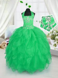 Stylish Apple Green Organza Lace Up Halter Top Sleeveless Floor Length Kids Formal Wear Appliques and Ruffles