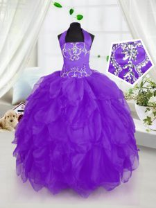 Ball Gowns Little Girl Pageant Dress Purple Halter Top Organza Sleeveless Floor Length Lace Up