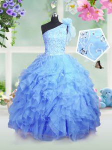 Lovely One Shoulder Baby Blue Sleeveless Organza Lace Up Kids Formal Wear for Party and Wedding Party