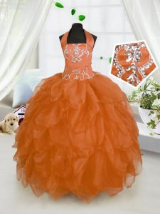 Sweet Halter Top Organza Sleeveless Floor Length Girls Pageant Dresses and Beading and Ruffles