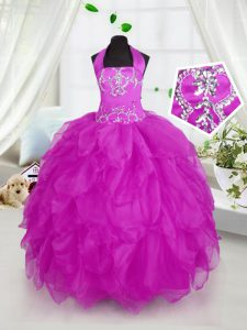 Halter Top Sleeveless Floor Length Appliques and Ruffles Lace Up Little Girls Pageant Dress with Purple