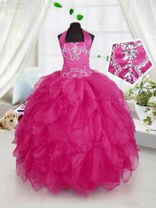Trendy Fuchsia Ball Gowns Halter Top Sleeveless Organza Floor Length Lace Up Appliques and Ruffles Kids Formal Wear