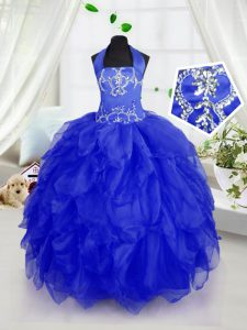 Enchanting Royal Blue Ball Gowns Halter Top Sleeveless Organza Floor Length Lace Up Appliques and Ruffles Child Pageant Dress