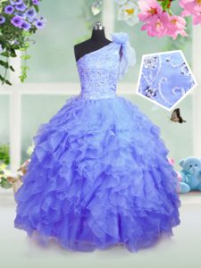Admirable One Shoulder Sleeveless Lace Up Floor Length Beading and Ruffles Child Pageant Dress