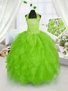New Style Halter Top Ball Gowns Beading and Ruffles Child Pageant Dress Lace Up Organza Sleeveless Floor Length