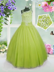 Apple Green Ball Gowns Asymmetric Sleeveless Tulle Floor Length Side Zipper Beading Kids Pageant Dress