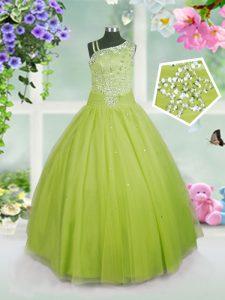 Apple Green Ball Gowns Asymmetric Sleeveless Tulle Floor Length Side Zipper Beading Kids Pageant Dress