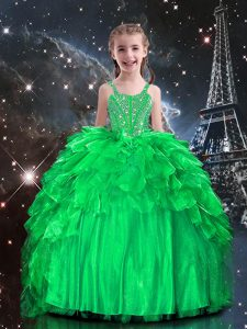 Fancy Apple Green Ball Gowns Beading and Ruffles Little Girl Pageant Dress Lace Up Organza Sleeveless Floor Length