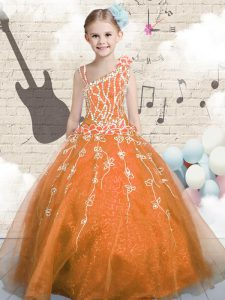 Superior Asymmetric Sleeveless Lace Up Little Girl Pageant Dress Orange Tulle