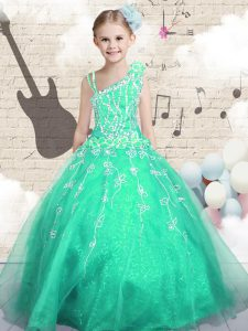Sleeveless Floor Length Appliques Lace Up Little Girls Pageant Dress Wholesale with Apple Green