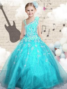 Latest Aqua Blue Tulle Lace Up Little Girls Pageant Gowns Sleeveless Floor Length Appliques