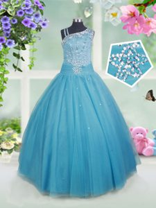 Teal Tulle Side Zipper Little Girl Pageant Dress Sleeveless Floor Length Beading