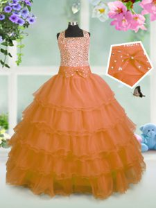 Amazing Sleeveless Organza Floor Length Zipper Little Girls Pageant Gowns in Orange with Beading and Ruffled Layers and Bowknot