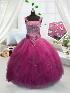 Floor Length Ball Gowns Sleeveless Rose Pink Little Girl Pageant Gowns Lace Up