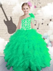 Most Popular One Shoulder Floor Length Ball Gowns Sleeveless Little Girls Pageant Gowns Lace Up
