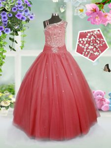 Eye-catching Asymmetric Sleeveless Kids Pageant Dress Floor Length Beading Watermelon Red Tulle