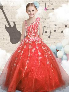 Floor Length Lace Up Pageant Gowns For Girls Orange Red for Party and Wedding Party with Appliques