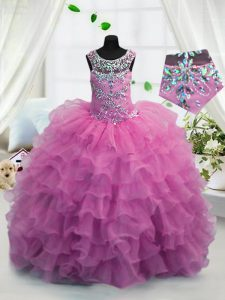 Glorious Scoop Sleeveless Floor Length Beading and Ruffled Layers Lace Up Little Girl Pageant Dress with Fuchsia
