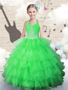 Halter Top Sleeveless Beading and Ruffled Layers Lace Up Little Girls Pageant Dress Wholesale