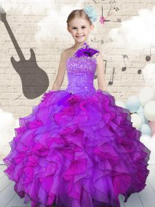 Latest One Shoulder Sleeveless Lace Up Child Pageant Dress Purple Organza