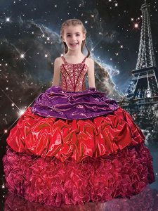 New Arrival Organza Sleeveless Floor Length Little Girls Pageant Gowns and Beading and Ruffles and Pick Ups