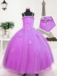 Lilac Ball Gowns Spaghetti Straps Sleeveless Tulle Floor Length Zipper Beading and Appliques Little Girls Pageant Gowns