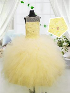 Scoop Sleeveless Floor Length Beading and Appliques Zipper Kids Formal Wear with Light Yellow