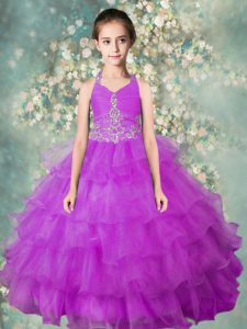 Dramatic Halter Top Organza Sleeveless Floor Length Little Girl Pageant Gowns and Beading and Ruffled Layers