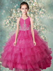 Most Popular Halter Top Floor Length Rose Pink Girls Pageant Dresses Organza Sleeveless Beading and Ruffled Layers