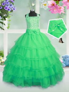 Little Girl Pageant Gowns Party and Wedding Party with Beading and Ruffled Layers Square Sleeveless Zipper