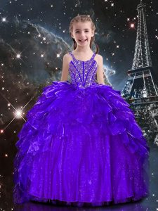 Excellent Dark Purple Ball Gowns Organza Spaghetti Straps Sleeveless Beading and Ruffles Floor Length Lace Up Little Girls Pageant Dress