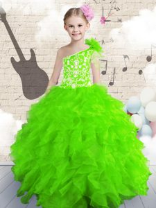 One Shoulder Sleeveless Little Girl Pageant Dress Floor Length Beading and Ruffles Organza