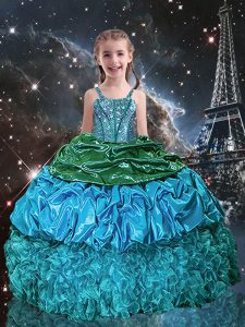 Superior Aqua Blue Ball Gowns Spaghetti Straps Sleeveless Organza Floor Length Lace Up Beading and Ruffles and Pick Ups Kids Pageant Dress