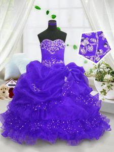 Trendy Organza Sweetheart Sleeveless Lace Up Beading and Ruffled Layers and Pick Ups Kids Pageant Dress in Blue