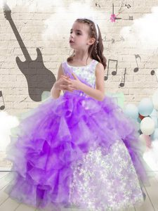 Charming Eggplant Purple Organza Lace Up Scoop Sleeveless Floor Length Little Girls Pageant Dress Beading and Ruffled Layers