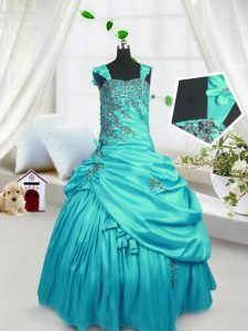 Fashionable Straps Sleeveless Little Girl Pageant Dress Floor Length Beading and Pick Ups Turquoise Satin
