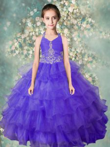 Custom Made Ruffled Halter Top Sleeveless Zipper Child Pageant Dress Blue Organza