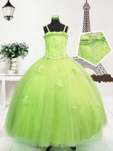 Excellent Floor Length Yellow Green Little Girls Pageant Gowns Spaghetti Straps Sleeveless Zipper
