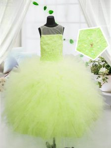 Most Popular Yellow Green Scoop Zipper Beading and Appliques Child Pageant Dress Sleeveless