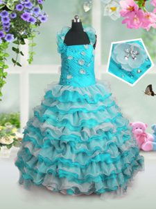 Floor Length Blue And White Little Girls Pageant Dress Organza Sleeveless Beading and Appliques and Ruffled Layers
