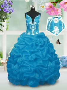 Beauteous Baby Blue V-neck Neckline Beading and Pick Ups Kids Formal Wear Sleeveless Lace Up