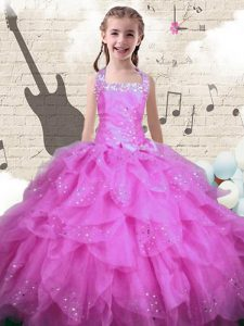 Halter Top Sleeveless Lace Up Kids Pageant Dress Rose Pink Organza